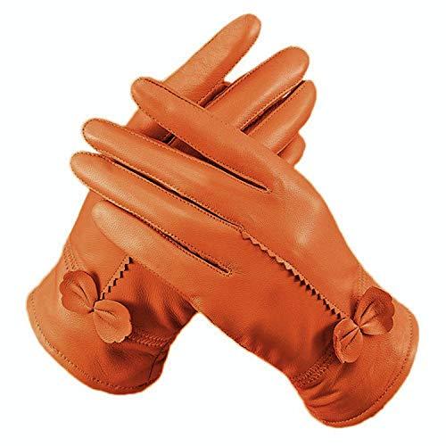 Fletion - Guanti in pelle di pecora, da donna, morbidi, di lusso, con fodera in pile, con fiocco, per l'inverno arancione taglia unica