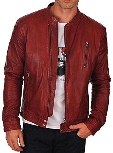 Chaqueta de piel roja para hombre, estilo vintage, estilo Cafe Racer para motocicleta, motorista, chaqueta de cuero real