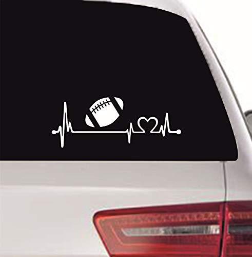 myrockshirt Herzschlagaufkleber Football American Football 20cm Heartbeat Herzschlag Lebenslinie Aufkleber Autoaufkleber Sticker Profi Qualität