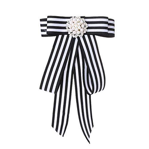 MJARTORIA Damen Schleife Brosche schwarz Streifen Anstecknadel mit Strass Frauen Kragen Schleifenbrosche für Partys Hochzeit Bankett Büro