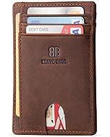 BRAVE BROS - Slim Genuine Leather RFID Blocking Minimalist Front Pocket Wallets Card Holders for Men Women (Crazy Horse Coffee)