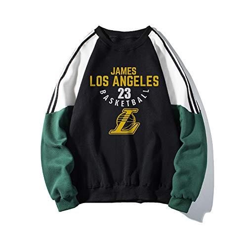 Felpa da Basket NBA da Uomo, Los Angeles Lakers James 23# Fashion Girocollo Pullover A Maniche Lunghe Maglione Camicia Sportiva Casual,Nero,L