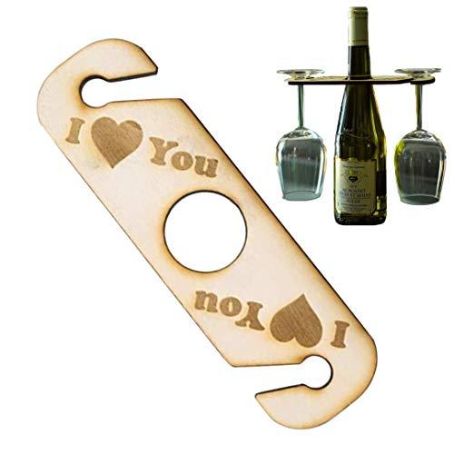 Pamura - GLASANOVA - Weinregal - Holz - Wein Geschenk - Originelle Geschenkidee für Weinliebhaber - Ideal für 1 Weinflasche und 2 Weingläser - I Love You