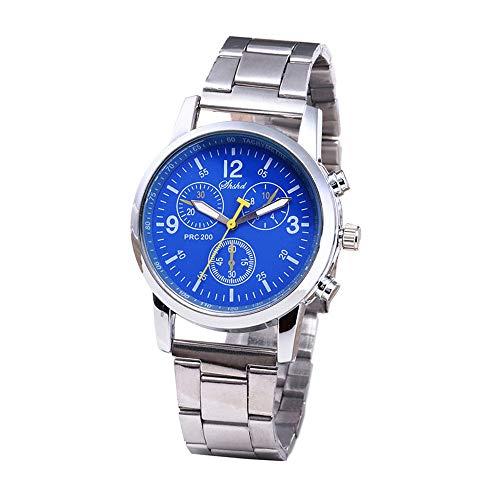 Hffan Herren Uhr Chronograph Analogue Quartz Wasserdicht Business Schwarz Zifferblatt Armbanduhr mit Edelstahl Armband