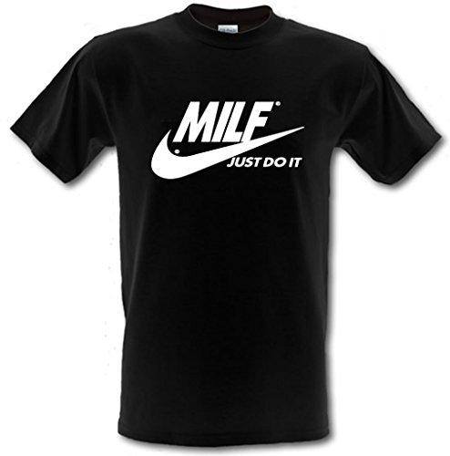 """T-Shirt mit dem Aufdruck """"MILF Just Do It"""", Lustiger, frecher Aufdruck, schwere Baumwolle Gr. L, schwarz"""