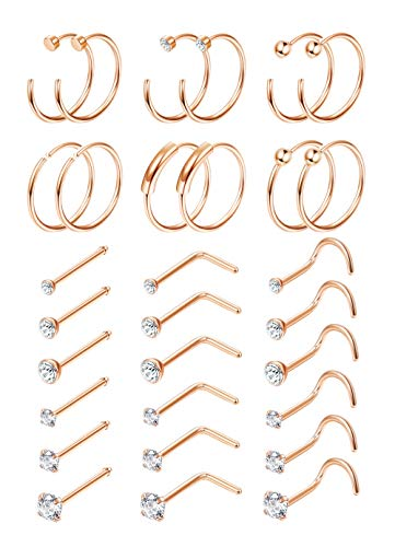 Finrezio 30PCS 22G Surgical Steel Nose Rings Hoop Studs Cartilage Earrings Body Piercing Jewelry 1.5mm 2mm 2.5mm