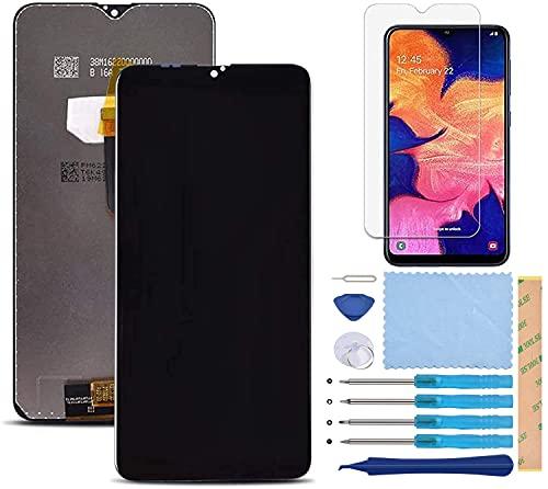 Pantalla LCD Táctil Asamblea Repuesto Compatible con Samsung Galaxy A10 2019 SM-A105FN/DS Negro con Herramientas + Película Templada