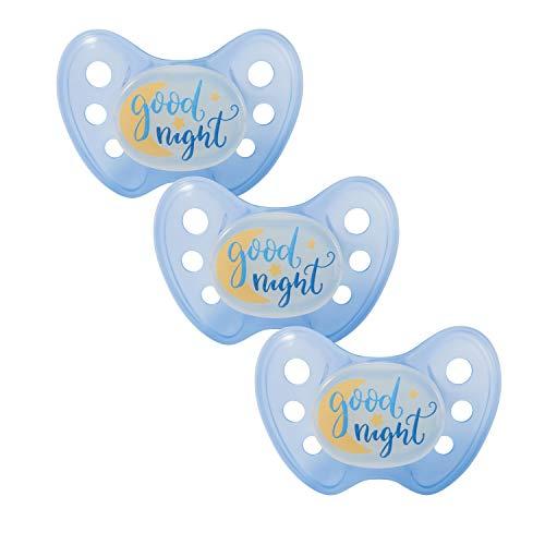 Dentistar® Night Silikon-Schnuller - Größe 2-6-14 Monate - leuchtet im Dunkeln - Nacht-Leuchtschnuller - zahnfreundlich - Made in Germany - BPA frei - Good Night, blau