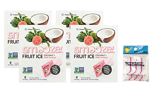 Smooze All Natural Fruit Ice, Coconut + Guava, 17.6 Ounce Boxes (Pack of 4) Bundled with PrimeTime Direct 20ct Dental Flossers in a PTD Sealed Bag