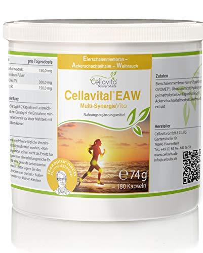 Cellavital Knochen & Bewegung (EAW) Eierschalenmembran | Ackerschachtelhalmextrakt | Weihrauchextrakt - 3-Monatsvorrat - 180 Kapseln