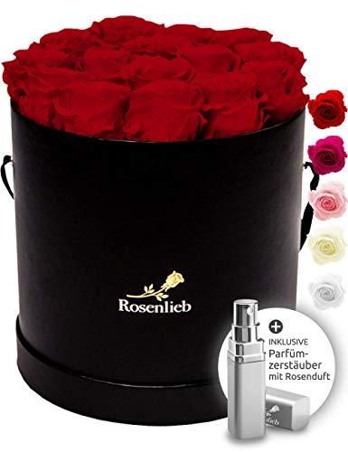 Rosenlieb Rosenbox mit 18 Infinity Rosen (3 Jahre haltbar) | Handgefertigtes Unikat aus Deutschland inkl. Grußkarte | Flowerbox Geschenk für Frauen, Freundin, Weihnachten Valentinstag (Schwarz, Rot)