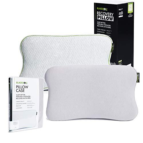 BLACKROLL Recovery Pillow im Set mit zusätzlichem Bezug in hellgrau – orthopädisches HWS Kissen mit Kopfkuhle (Nackenstützkissen) aus Viscose Memory Schaum - Made in Germany