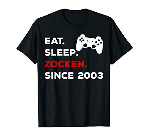 17. Geburtstag Geschenk 2003 Mädchen Jungen Gamer Zocker T-Shirt