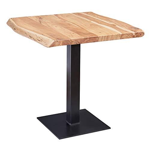 FineBuy Esstisch Baumkante 80 x 75 x 75 cm Akazie Massivholz Esszimmertisch | Kleiner Holztisch Esszimmer | Designer Küchentisch Quadratisch