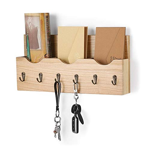 Schlüsselbrett mit Briefablage aus Holz mit 6 Schlüsselhaken für Briefen, Notizen, Schlüssel, natürliche Holzfarbe