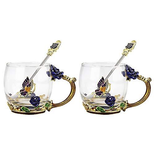 COAWG Glasteetasse, Emaille Blue Rose Blüten Schmetterlingsbecher Kristallglas Klare Tasse Blumen Blumenglas Kaffeebecher mit Handgriff für Frauen, Valentinstagsgeschenk 330ml*2
