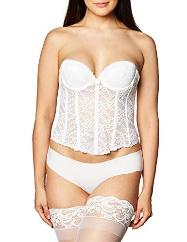 Va Bien Women's Lace Low Back Bustier, White, 40D