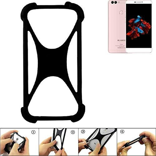 K-S-Trade® Handyhülle Für Bluboo Dual Schutz Hülle Silikon Bumper Cover Case Silikoncase TPU Softcase Schutzhülle Smartphone Stoßschutz, Schwarz (1x),