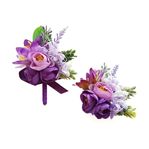 Purple Corsage and Boutonniere Set - Homecoming Prom Wedding Wristlet Corsage Bracelet Flowers Boutonnieres Silk Rose - Lavender / Green - Artificial Prom Small Corsage Wristlets (Violet)