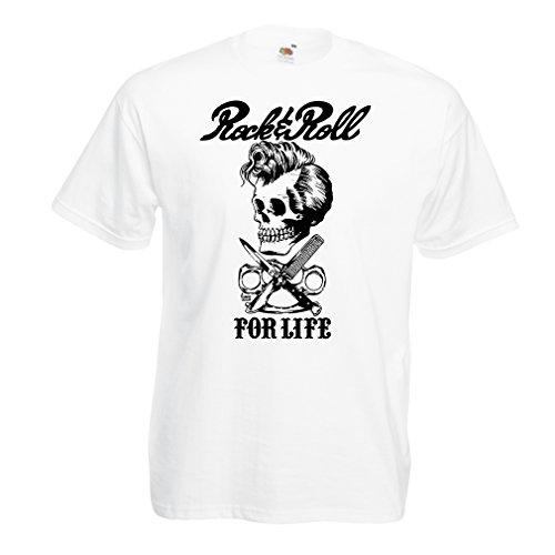 lepni.me Camisetas Hombre Rock and Roll For Life - 1960s, 1970s, 1980s - Banda de Rock Vintage - Musicalmente - Vestimenta de Concierto (Large Blanco Multicolor)