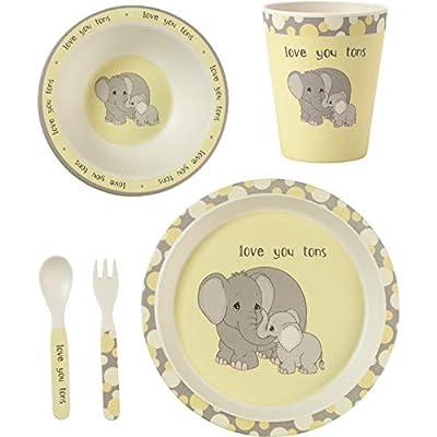Precious Moments 182418 5 Elephant Gift Mealtime Feeding Set, One Size, Multi