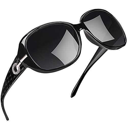 Joopin Gafas de Sol Mujer Moda Polarizadas Protección UV400 de Gran Tamaño Gafas de Sol Señoras (Paquete simple negro)