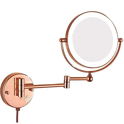 JqwerP Specchio, Specchio ingranditore bifacciale Specchio da Bagno Estensibile a Parete con Interruttore e Spina