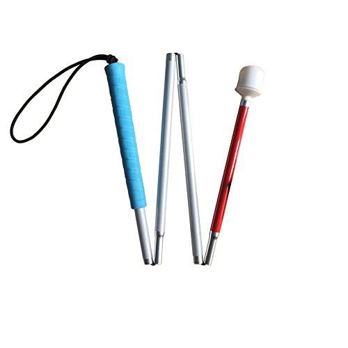Aluminio Baston Blanco para Ciegos y Baja Vision Plegable, 4 Secciones, 100 cm (39 pulgada) Para Los Niños, Mango de Azul