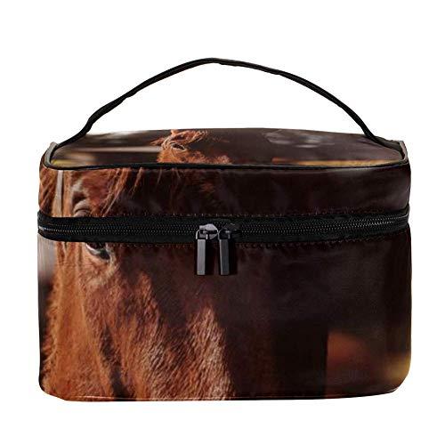 TIZORAX roodbruine paard cosmeticatasje reizen toiletartikelen geval grote make-up organizer box