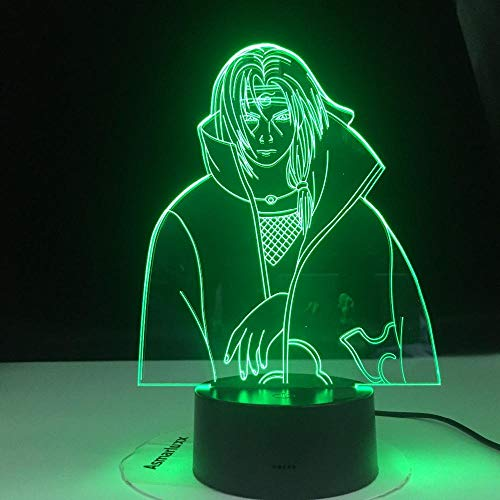 Luz nocturna 3D para niños, lámpara Deak LED, modelo Anime Uchiha Itachi para Navidad/cumpleaños (mando a distancia)