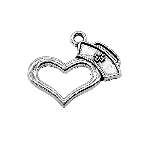 WANM 8Pcs/Lot Nurse Cap Love Charms For Jewelry Making 21X23Mm Antique Silver Color Accessories Diy Handmade Craft