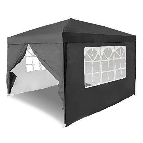 UISEBRT 3x3m Pavillon Faltbar Partyzelt Wasserdicht mit 4 Seitenteile - Faltpavillon Gartenzelt UV-Schutz - für Garten,Party,Hochzeit,Picknick, Anthrazit