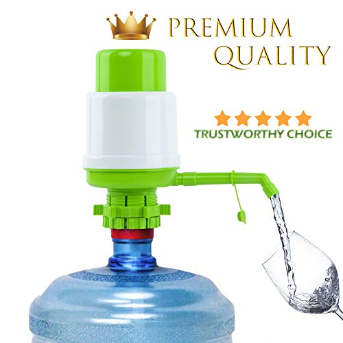 Water Bottles Pump White Green Manual Hand Pressure Drinking Fountain Pressure Pump Water Press Pump with an Extra Short Tube with Cap Fits Most 2-6 Gallon Water Coolers