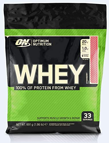 Optimum Nutrition ON Whey Protein Pulver, Eiweißpulver Muskelaufbau, Protein Shake mit 20g Protein pro Portion, Strawberry, 33 Portionen, 0,9kg
