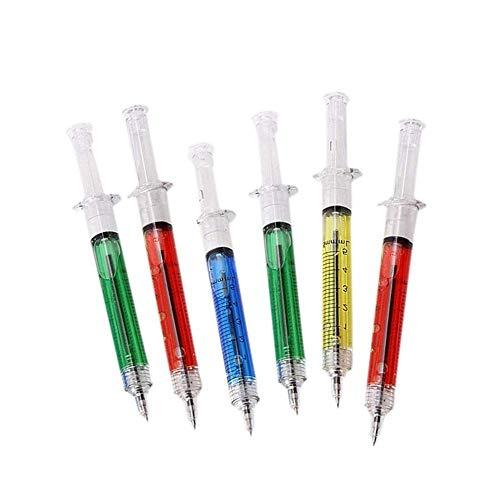 Cosanter 6Pcs Bolígrafo Jeringa Realista Creativa Bolígrafo de Forma de Jeringa Un Regalo Pluma de Tintapara Una Enfermera o Un Médico(Color Aleatorio)