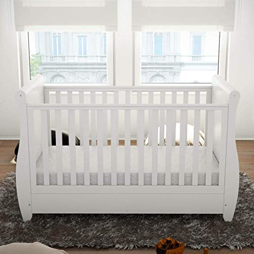 Babymore Stella Sleigh Cot Bed Drop Side with Drawer | Solid Pine Wood |Converts into Day Bed, Toddler Bed | Teething Rail (White)