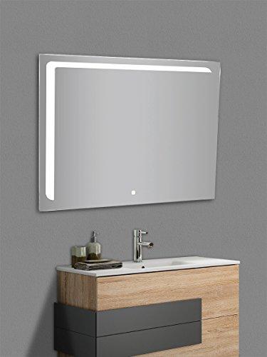 Yellowshop - Specchio Specchiera Cm L.100 x H 80 A Luce LED Retroilluminato Filo Muro Bagno Design Moderno con Touch Modello Elle 108