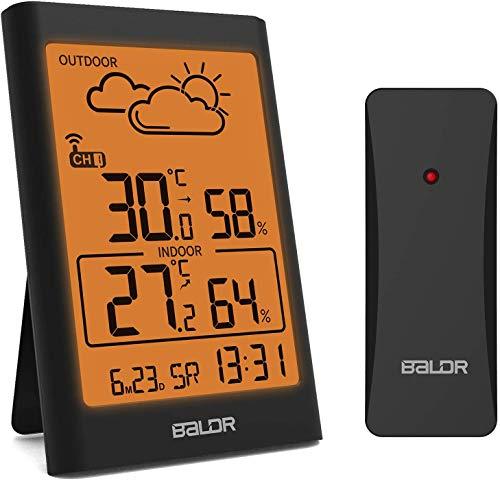 TEKFUN Wetterstation Funk mit Außensensor, Digital Thermometer Hygrometer Innen und Außen Raumthermometer Feuchtigkeit mit Wettervorhersage, Uhrzeitanzeige, Wecker und Nachtlicht (Schwarz)