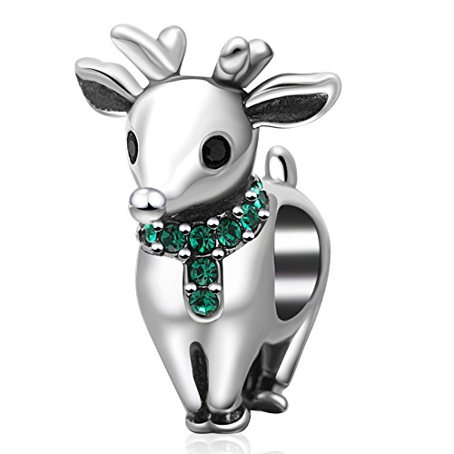 Christmas Charms Authentic 925 Sterling Silver Santa Claus Bead Stocking Bells Reindeer Charm Pendant for Xmas Gift (Green Crystal Reindeer)