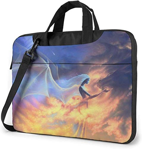 15.6 inch Laptop Shoulder Briefcase Messenger Fantasy Fire Dragon Angel Wings Tablet Bussiness Carrying Handbag Case Sleeve