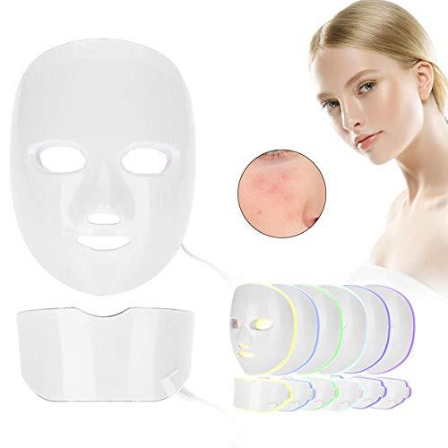 7 colores luz fotón led máscara estiramiento blanqueamiento antiarrugas arruga herramienta de cuello piel ajuste belleza máquina belleza (EU)