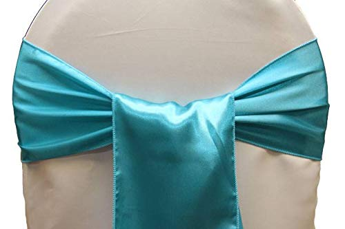 mds Pack of 50 Satin Chair Sashes Bow sash for Wedding and Events Supplies Party Decoration Chair Cover sash- Teal