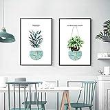 QLWLKJ Modern dukmålning Grön växt Ananasblommaposter Och tryck Väggkonst Bild Vardagsrum Heminredning-50x70cmx2 Ingen ram