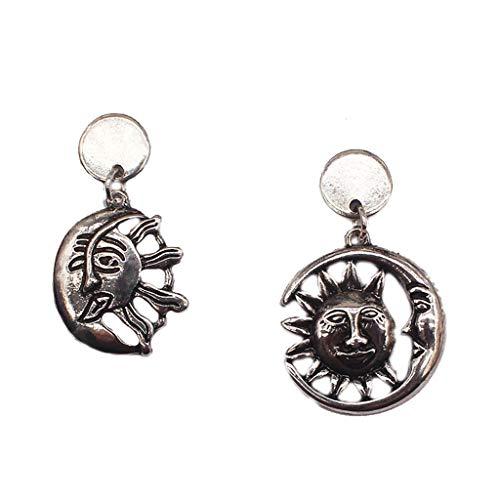 Rongzou - Pendientes de gota asimétricos para mujer, estilo gótico, punk, con diseño de sol, luna, estilo vintage, de plata envejecida, accesorios para fiestas