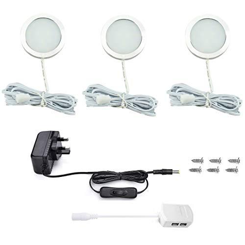 Vlio 3er Set LED Puck Lichter 7.5W 750LM Warmweiß Vitrinenbeleuchtung Scheibenlicht für Küche Schrank Theke Schrank Regal Kleiderschrank und mehr