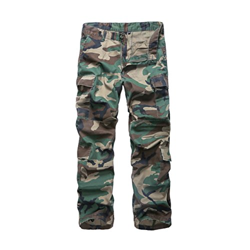 BACKBONE Mens Military Army Style Camouflage Cargo Pants for Fishing Hunting Gaming Camping (36, Woodland Camo)