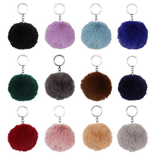 Firtink 12pcs Bommel Schlüsselanhänger Handtasche Anhänger Schlüsselanhänger Anhänger Dekoration Rucksack Auto Keychain