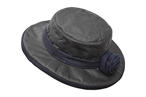 Walker and Hawkes Windsor Rose - Damen Hut gewachst - breite Krempe und Blume - Dunkelblau - Größe XS bis 2XL