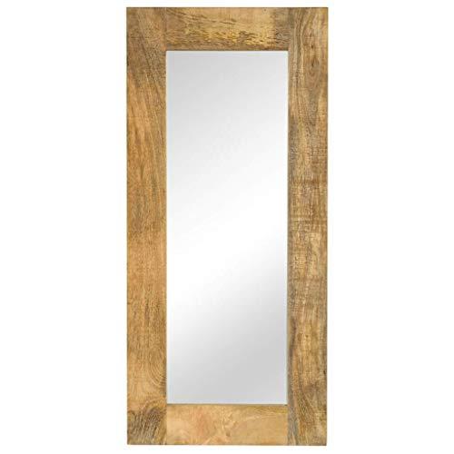 yorten Spiegel mit Rahmen Wandspiegel Badspiegel Schlafzimmer Spiegel Rahmen aus Massives Mangoholz Vintage-Charme 50 x 110 cm (B x H)