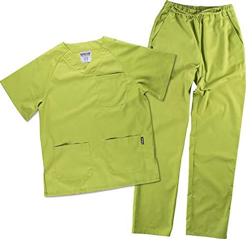 Work Team Uniforme Sanitario, con elástico y cordón en la Cintura, Casaca y Pantalon Unisex Verde Manzana M